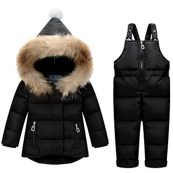 Kids Clothes Boys Girls Winter Down Coat Children Warm Jackets Toddler Snowsuit Outerwear +Romper Clothing Set Russian winter