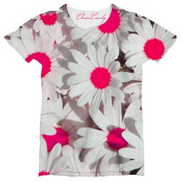 Allover Print Neon Pink Daisy Relaxed T shirt