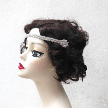 Swarovski Crystal, Flapper Headband, Hair Accessory, Great Gatsby, Costume Headpiece, Silver Beaded,