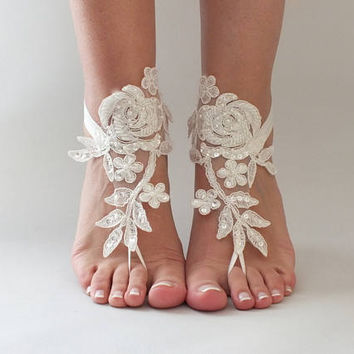 FREE SHIPPING beach shoes, Unique design bridal sandals, flexible sandals, wedding bridal, ivory or white sandles wedding shoes, summer wear