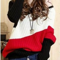 Off the shoulder Diagonal Stripes Oversized Sweater from Basiques Boutique
