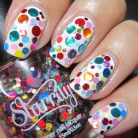 Balloon Animal Custom Hand Made Designer Unique Glitter Nail Polish - Lacquer - Indie Nail Polish - Varnish - Big Circle Dot Glitter