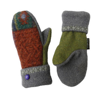 Sweater Mittens, Wool Mittens,  Women's Mittens, Handmade in Wisconsin Gift for Her Upcycled Sweaty Mitts Purple Green Brown Ecofriendly