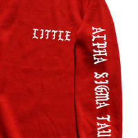 CUSTOM Sorority sweatshirt Big little fraternity sorority on the sleeve. Gbig big little GGbig biggie big little Reveal long sleeve shirt