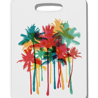 Paint Splash Palm Trees Thick Plastic Luggage Tag