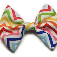 Rainbow Chevron/Zig-Zag Printed Hair Bow