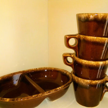 Four Hull Oven Proof Mugs and Hull Divided Vegetable Dish, Hull Cups, Hull Mugs,  Hull Brown Drip Glaze