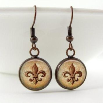 Fleur De Lis Earrings : Copper. Lily Flower. Dangle Earrings. Copper Earrings. Art (1730)