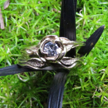 Diamond Ring, Vintage Gold Flower and Vines Engagement Ring, Yellow Gold Wedding Set with Enamel