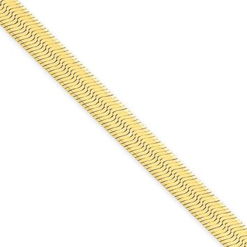 5.5mm, 14k Yellow Gold, Solid Herringbone Chain Necklace, 30 Inch
