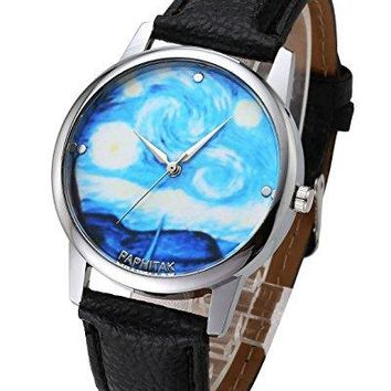 Top Plaza Women Fashion Silver Tone Quartz Analog Watch PU Leather Strap Van Goghs Starry Sky Pattern 3ATM Waterproof Casual Wrist Watch