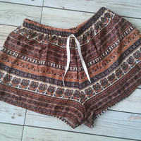 Boho Aztec Ethnic Ikat Pattern Printed Beach Shorts Tribal Clothing Bohemian Summer Comfy Cotton Rayon Cute Women Clothes Unique in Brown