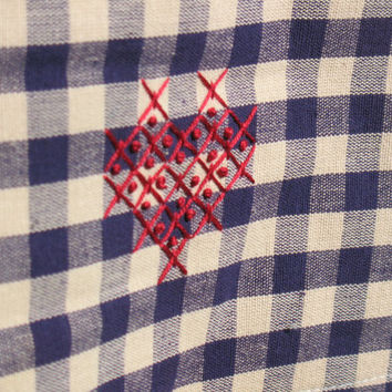 Navy Blue, Linen Kitchen Towel, Tea Towel, Gingham plaid, Hand Embroidery, Red Heart, Love towel