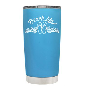 Beach Life Flowers and Sandals on Baby Blue 20 oz Tumbler Cup