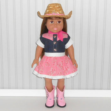 18 inch Doll Clothes Halloween Cowgirl Costume Pink and Denim Dress with Cowgirl Hat and Scarf Optional Pink Cowboy Boots