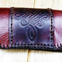 mens leather glasses case brown Irish celtic design