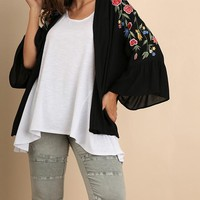 Bell Sleeve Kimono with Avian Embroidery