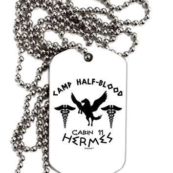Camp Half Blood Cabin 11 Hermes Adult Dog Tag Chain Necklace by TooLoud