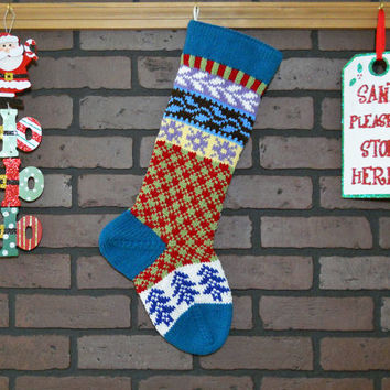 Hand Knit Christmas Stocking, Plaid Fair Isle Knit with Teal Cuff and Blue Trees, can be personalized, Housewarming Gift, Wedding Gift