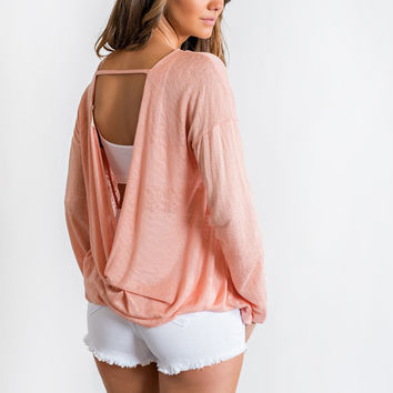 Finley Open Back Top (Peach)