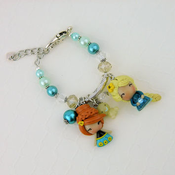 Frozen Fever party, Frozen Fever birthday, Frozen fever jewelry, frozen fever bracelet, elsa charm, anna charm