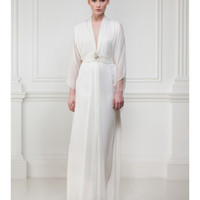 Matthew Williamson | White Silk Chiffon Kaftan Gown With Swarovski Embroidery | Lyst