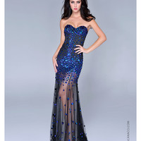Nina Canacci 2014 Prom Dresses - Black Tulle & Jewel Strapless Prom Dress