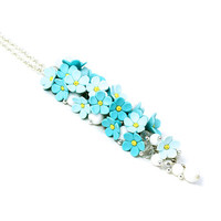"""Floral Pendant Necklace """"Forget Me Not"""" MADE TO ORDER Floral Jewelry Feminine Jewelry Blue Necklace Bridal Necklace Turquoise Wedding"""