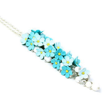 "Floral Pendant Necklace ""Forget Me Not"" MADE TO ORDER Floral Jewelry Feminine Jewelry Blue Necklace Bridal Necklace Turquoise Wedding"