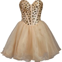 Faironly Champagne Mini Short Prom Gown Homecoming Dress (XS)