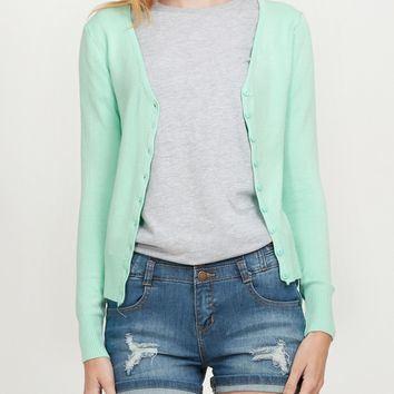 Soft Fitted Basic Cardigan Sweater