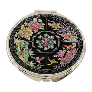 Mother of Pearl Noble Plant Round Metal Double Compact Cosmetic Makeup Folding Handbag Purse Beauty Pocket Mini Hand Gift Mirror