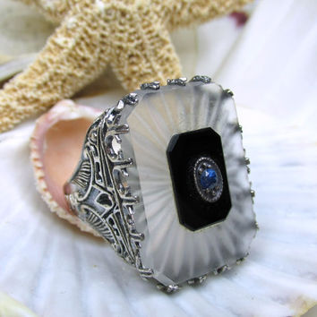 Sterling Silver Camphor Glass and Sapphire Ring Size 10