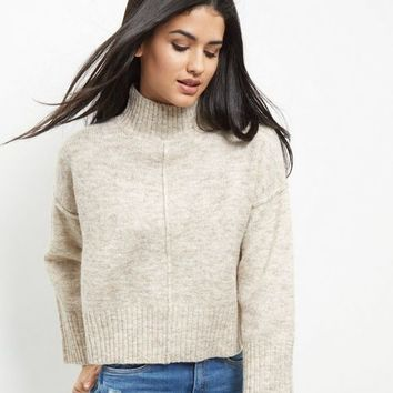 Cream Wide Sleeve Turtle Neck Cropped Jumper