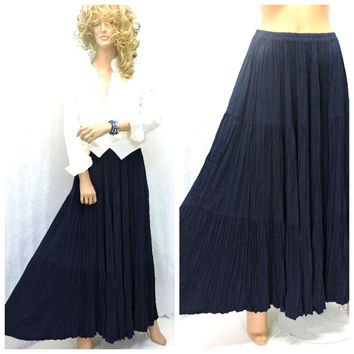 Vintage 80s navy blue boho maxi broom skirt M, Double D ranch country western long navy skirt, long blue gypsy skirt, SunnyBohoVintage