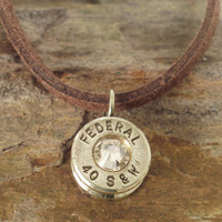 40 Caliber Bullet Casing Necklace Champagne by ShellsNStuff