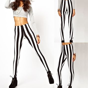 Sexy Fashion Women Leggings Black White Vertical Stripe Zebra Stretchy