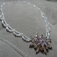 "Queen Elsa/ Frozen Inspired Snowflake Necklace. Handmade, Beaded 17.5"" Necklace with Snowflake Pendant. Scallop Bead design & Lobster Clasp"