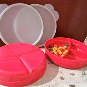 2 tupperware divided snack containers fushia with pedal lids