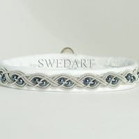 Swedish Lapland Sami Leather Bracelet White Pewter by SwedArt