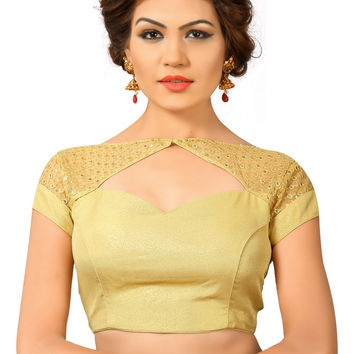 Saris and Things Gold Net Fancy Back Open Saree Blouse Choli SNT-X-402-GOLD