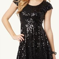 Sequined Mesh Skater Dress