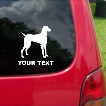 Vizsla Dog Sticker Decal with custom text 20 Colors To Choose From.