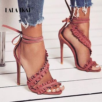 Ankle Strap High Heels Sandals Women Ruffles Sandals Summer shoes Solid Lace-Up