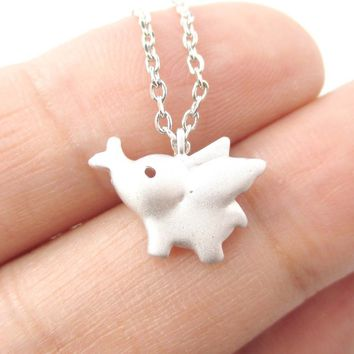 Flying Baby Elephant Shaped Pendant Necklace in Silver   Animal Jewelry
