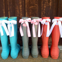 Custom Rain Boots with Beautiful Bows Create Your Own Color Combination