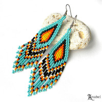 Turquoise Long Seed Bead Earrings, Dangle Beaded Earrings, Beadwork Jewelry, Fringe Ethnic Earrings, Colorful Beadwoven Earrings