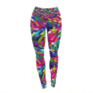"Dawid Roc ""Colorful Geometric Movement 1"" Multicolor Abstract Yoga Leggings"