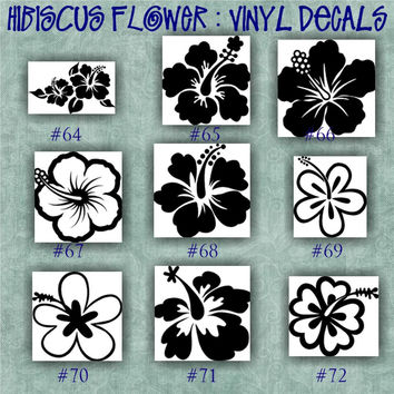 HIBISCUS FLOWER vinyl decals - 64-72 - car window stickers - girly stickers - vinyl stickers - wall decals - personalized vinyl sticker
