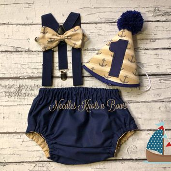 Boys Nautical Sailor Cake Smash Set, Boys Navy Blue & Tan Nautical 1st Birthday Cake Smash Outfit